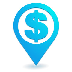 dollar sur symbole localisation bleu