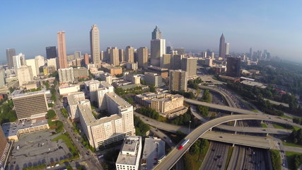 Aerial drone video Downtown Atlanta Georgia