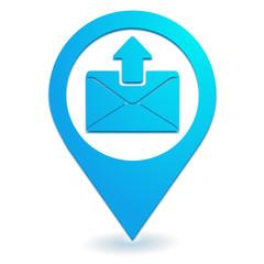 envoyer un message sur symbole localisation bleu