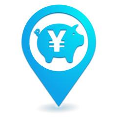 épargne yen sur symbole localisation bleu