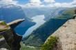 Leinwanddruck Bild - View of Trolltunga to fjord - Norway