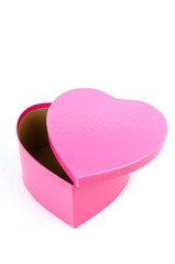Pink heart box isolated white background