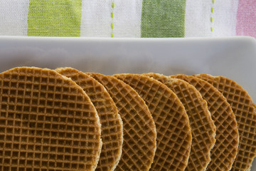 Dutch Waffles (Stroop Wafels) on a platter