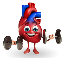 Heart character with dumbbells