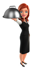Young Business Woman with dish pan