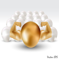 golden egg with hand power, stand out from crowd concept
