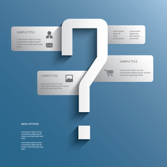 White infographics menu options with question mark