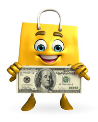 Shopping bag character with dollar