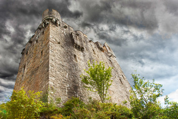 Stormy sky over castle