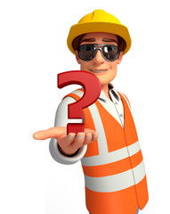 Young worker with question mark