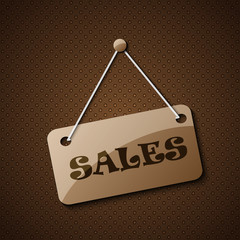 Sales hanging sign  or for your text on an abstract background.