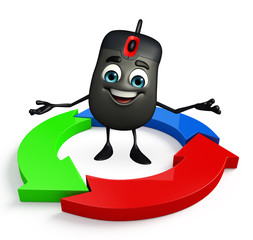 Computer Mouse Character with Arrow
