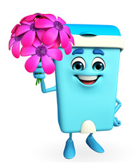 Dustbin Character with flowers
