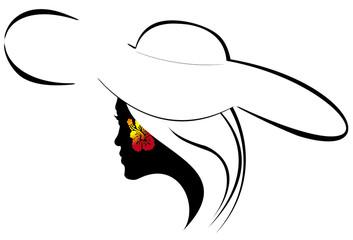 silhouette de jeune femme au chapeau à larges bords