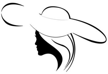 silhouette de jeune femme au chapeau