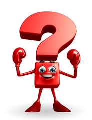 Question Mark character with Boxing Gloves