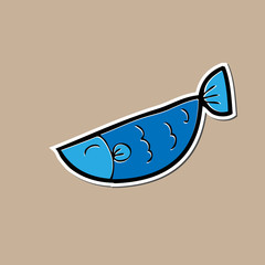 Fish drawing sticker cartoon