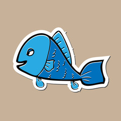 Fish sticker drawing cartoon