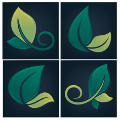 leaf forms and symbols on dark background