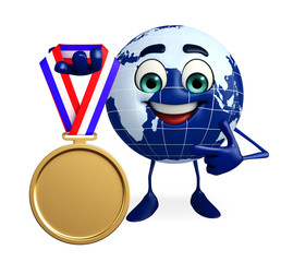 Globe Character with gold medal