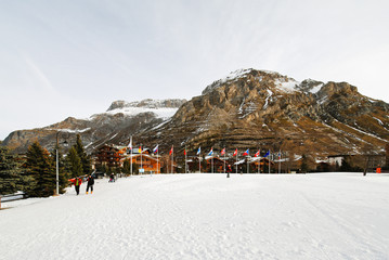urban square in mountain town Val d'Isere, France