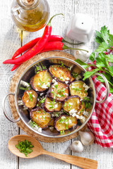 Fried eggplant with garlic