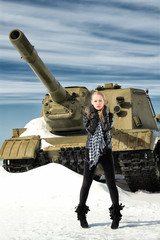 girl and a tank