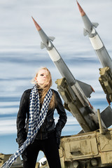 girl and ballistic missile