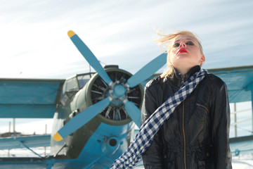 girl and plane winter