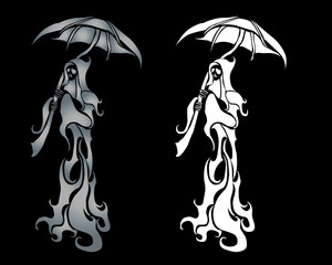 Ghost graphic design with umbrella
