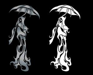 Ghost graphic design with umbrella