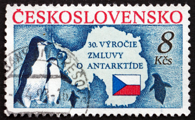Postage stamp Czechoslovakia 1991 Penguins and Map of Antarctic