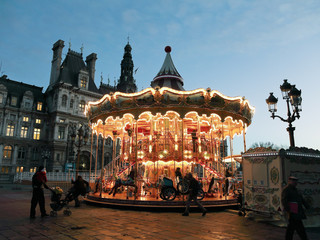 carousel at Place de Hotel de Ville in Paris