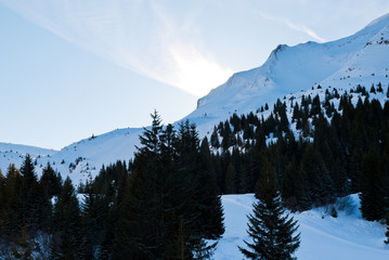 snow mountain slopes in skiarea Portes du Soleil
