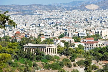 view of Athens city with Temple of Hephaestus