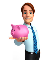 Young Service Man with piggy bank