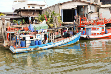 boats on khlong of chao phraya river in bangkok