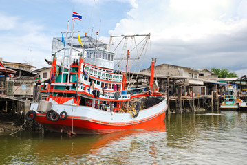 ship on khlong of chao phraya river in bangkok