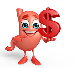 Cartoon Character of stomach with dollar sign