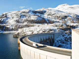 Tignes Dam (Chevril Dam) in France Alps