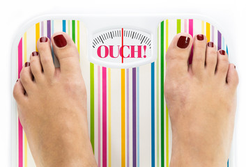 "Feet on bathroom scale with word ""Ouch"" on dial"