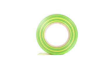 Closeup of multicolored insulating tapes isolated on white backg