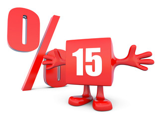 15 Percent off discount happy red glossy cube