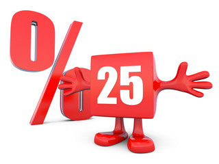 25 Percent off discount happy red glossy cube