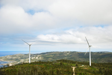 wind turbines on Cape Vilan, Galicia, Spain