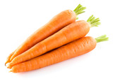 Heap of carrots isolated on white