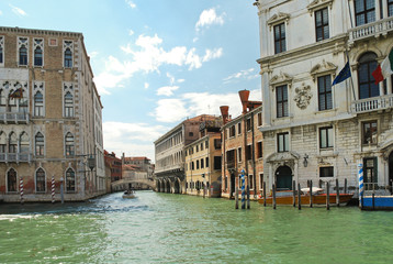 facades of houses along venetian canal, Venic