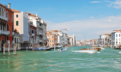 facades of houses along venetian grand canal,