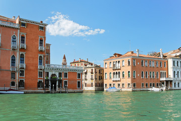 facades of houses along grand canal, Venice