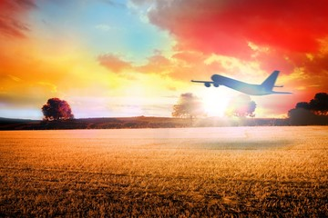 Composite image of airplane taking off